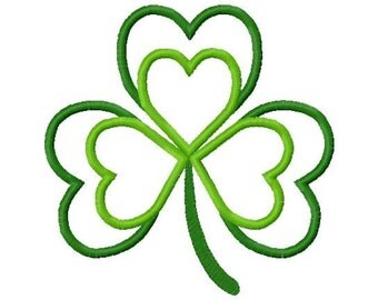 St. patty's day heart shamrock embroidery applique design instant download