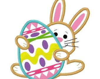 Bunny n Egg Easter applique design digital instant download