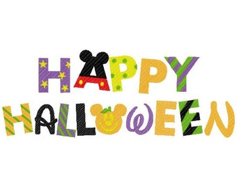 Happy halloween in disney mouse fon t embroidery design instant