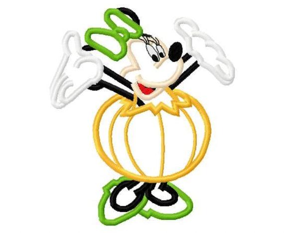 Miss mouse dressed as a pumpkin halloween applique design digital download 1486