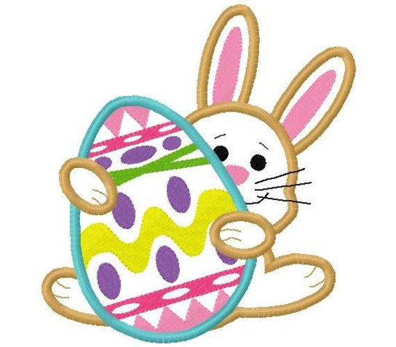 Bunny n egg easter applique design digital instant download