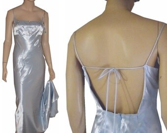 Bust 36 - '70s Formal Satin Gown in Ice Blue UNWORN wTail - Backless - Sexy & Elegant