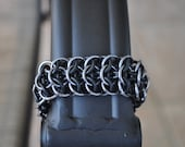 Stretchy Interwoven 4 in 1 Bracelet - Black Ice Anodized Aluminum (Gunmetal)