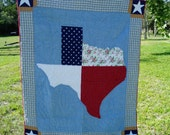 Vintage--Quilt with State of Texas Design, 80's  20% OFF