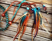 Snazzy Turquoise and Brown Zig zag Chevron Braided Leather and Feathers Headband, Belt, or Lariat