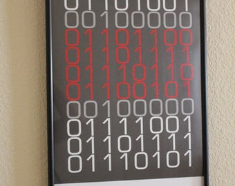 "Binary ""I Love You"" PRINTABLE for your Geek or Nerd"