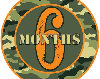 PRINTABLE Camo Month-to-Month Transfer/Sticker Designs