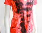 cotton t-shirt hand-dyed  /  hot tomato /