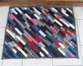 All Wool Reversible Floor Quilt Multi Colored