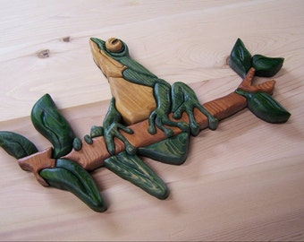 Frog Wall art  Home Decor is Green and made with Recycled Upcycled Wood Handmade  Wedding
