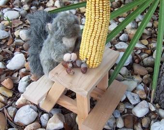 Squirrel Feeder Picnic Table Birds Chipmunks Wildlife Handmade recycled red cedar Woodland