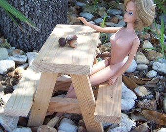 Barbie Doll Miniture Picnic Table made of Recycled Cedar Wood