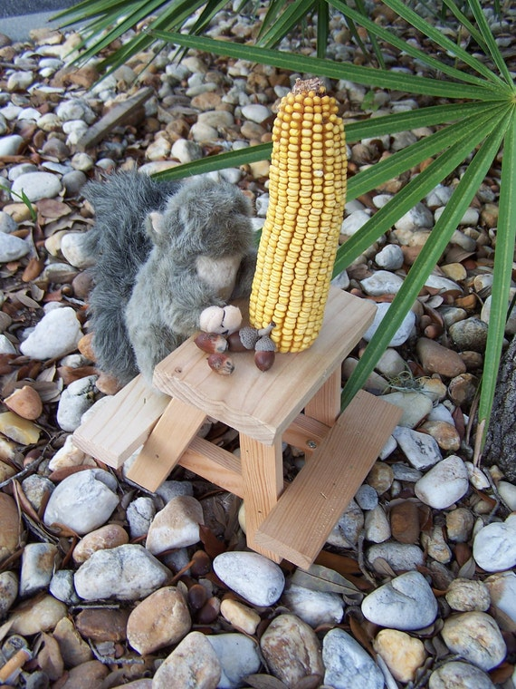 Squirrel Feeder Picnic Table Birds Chipmunks Wildlife Handmade ...