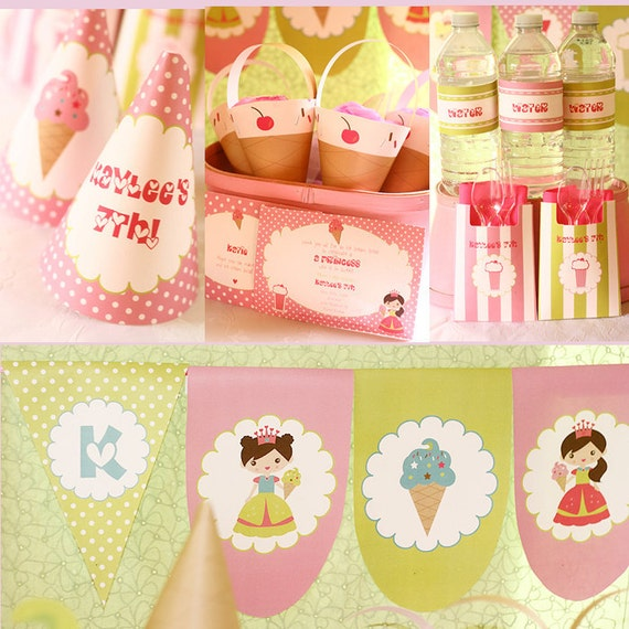 Instant Download Ice Cream Princess Birthday Printable Party Kit editable text
