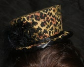 Leopard Print Mini Top Hat Fascinator with Black Ribbon Trim and Accents
