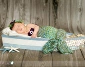 Mermaid Newborn Photography Prop In Greens and Purple.