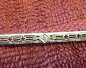 14kt Victorian White Gold Diamond Bar Pin  Just Reduced Free Shipping