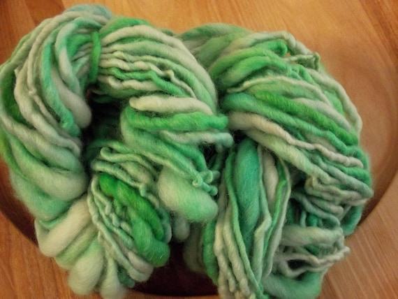 Hand dyed , hand spun wool yarn - shades of green
