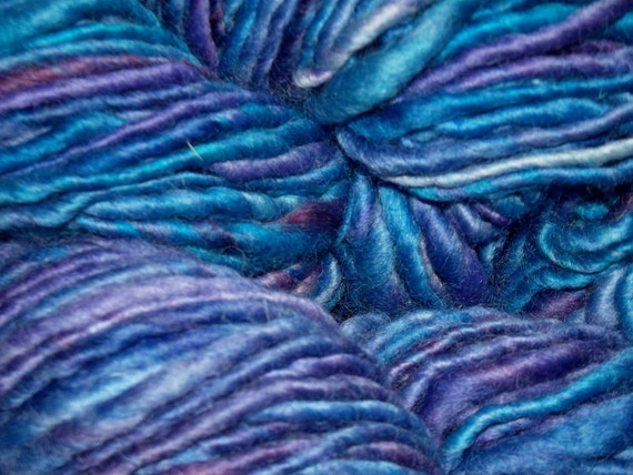Hand Spun Yarn - hand dyed blues with lots of variety