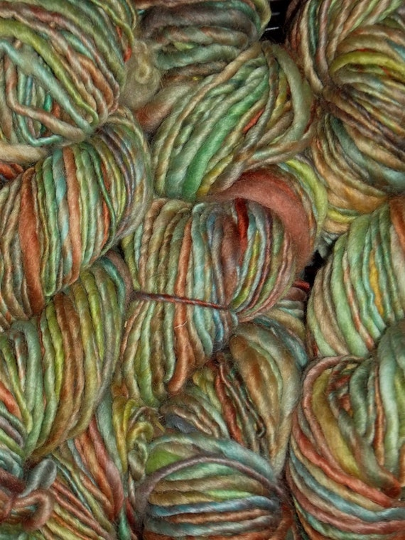 Art yarn - Hand dyed, hand spun yarn - taupe,light green and rust