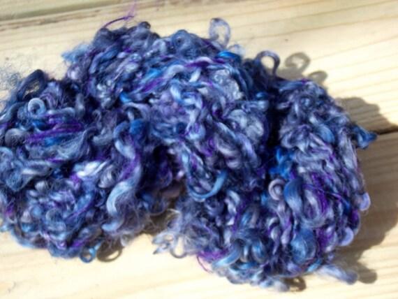 Hand spun Curly Locks - navy blue novelty yarn