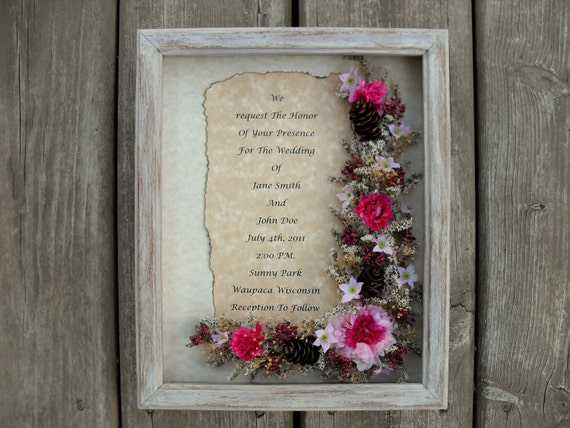 Shadow Box Framed Silk And Dried Floral Arrangement Wedding Gift ...