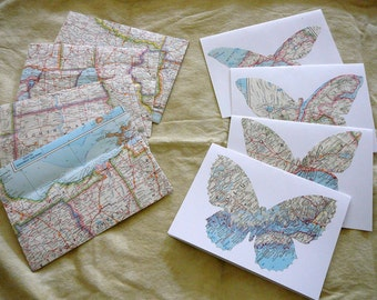 "Vintage Map Butterfly Cards and Map Envelopes-- 5 1/4"" x 7 1/4"""