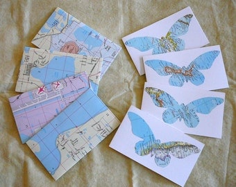 "Vintage Map Butterfly Cards and Map Envelopes-- 3"" x 5 3/8"""