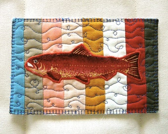 """Recycled Bits Quilted Postcard--""""Striped Red Fish"""""""