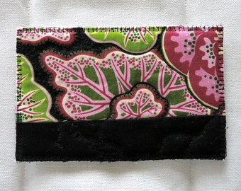 """Recycled Bits Quilted Postcard--""""Paisley Begonia"""""""