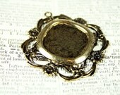 Fancy Filigree Pendant Base for Cabochons, Cameos, Resin: Antiqued Gold Plated Large Diamond Pendant Blank With Flowers