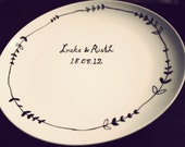 Wedding gift plate hand drawn by Mr Teacup - personalised