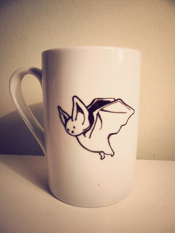 Bat Mug hand illustrated by Mr Teacup