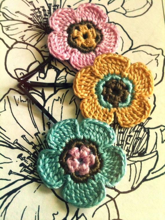 Crochet Daisy Flower Hair Pins, Dream Pink, Yellow and Blue