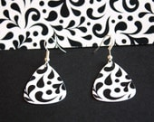 Guitar Pick Earrings Handmade From Upcycled Gift Card Black & White Paisley  Eco-Friendly Jewelry