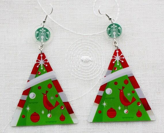 SALE Christmas Tree STARBUCKS COFFEE Earrings Handmade From Upcycled Gift Card