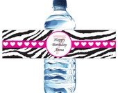 30 Pink and Black Zebra Birthday Water Bottle Labels - Printed with your child's name and birthday. Waterproof and self stick