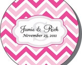 """100  2"""" Round Chevron Pattern Wedding Favor Labels -  In your wedding colors"""