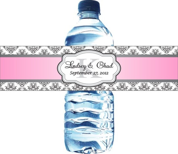 50 Waterproof Damask Monogram Wedding Water Bottle Labels - Printed with your wedding colors