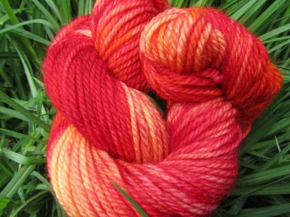 Lush Reds and Oranges Hand Dyed Yarn - Pure Australian Merino Wool - 50g