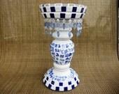 Blue and White Mosaic Candleholder-FREE SHIPPING
