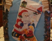 "CHRISTMAS SALE-- Bucilla Christmas Stocking Felt Kit 1993 ""Santa's Workshop""  18"" Diagonal Sock"