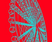 Ferris Wheel, turquoise, red, blue, 8 x 10, Children's Decor, Photograph, nursery, bedroom, child, wall decor, fun, midway, photo