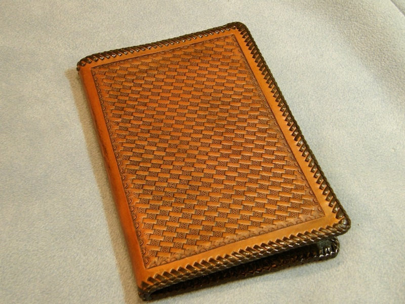 Basket Weave Pattern On Leather : Celtic basket weave stamped leather notepad with a laced edge