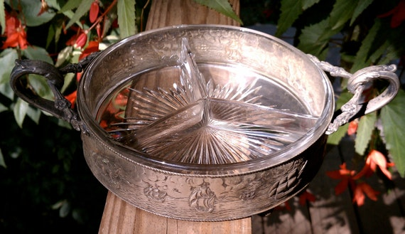 Rare Vintage Glass and Aluminum Pirate Ship Serving Dish