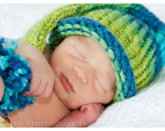Baby Hat - Knit Infant Elf Hat, Green and Yellow Prop.