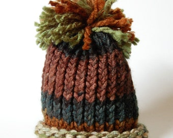 Baby Boy Hat Newborn - Knit brown and green with pom pom camo Prop.