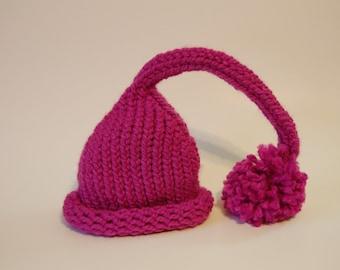 Baby Girl Hat - Knit Elf Pink with pom pom Prop.