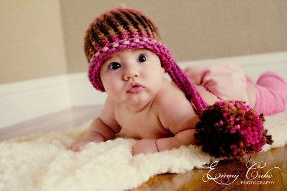 Baby Hat - Knit infant elf hat pink and brown Prop.