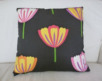 CLEARANCE 40% OFF Bright tulips on black pillow